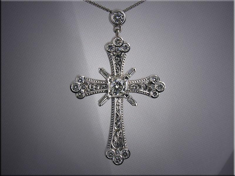 14K custom made diamond cross set with customer's diamonds