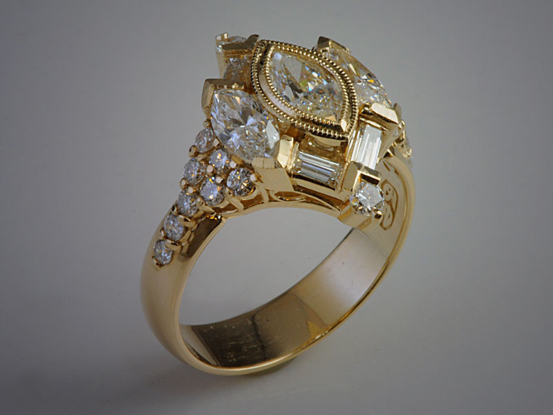 14K Yellow Gold DIamond Fashion Ring Remounted from Customer's Misc Jewelry