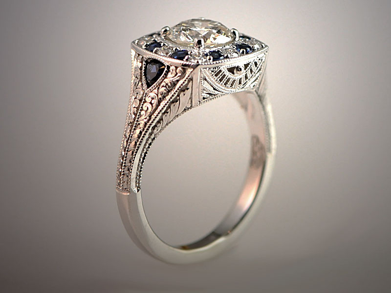 14K White Gold Vintage Style Remount using Customer's Stones, Diamonds and Sapphires, Hand Engraved