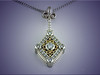 Custom 14K white gold diamond pendant with 18K yellow gold swirl design.  Designed and made by Ron Litolff