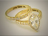 18K yellow gold custom made wedding set for customers pear shaped diamond, by Ron Litolff