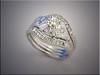 14K white gold custom bands for customer's engagement ring, set with diamonds