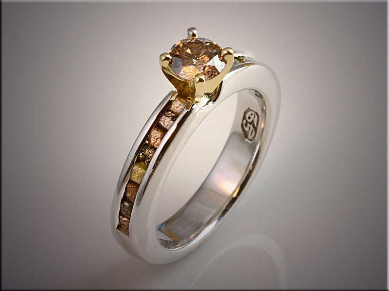 p514<br /> 14K White Gold Champagne Diamond Ring Set with Rough Diamonds Down the Sides.  By Ron Litolff.