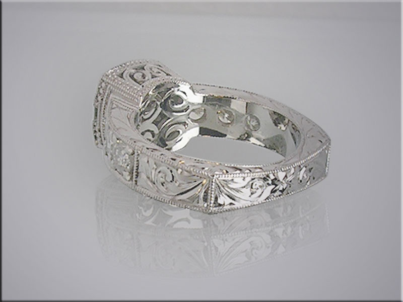 14K white gold diamond remount with hand engraving