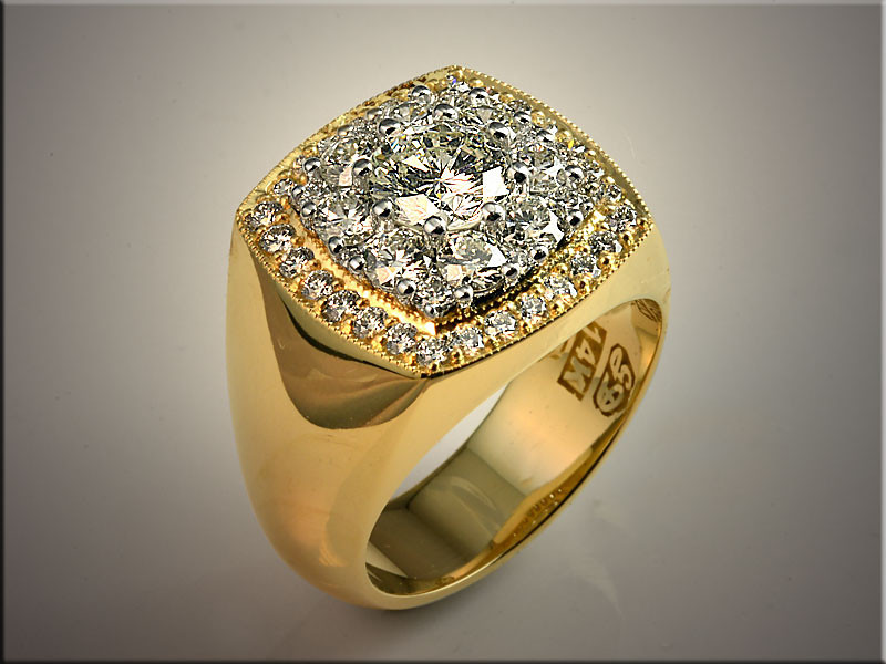 """p508<br /> 14K Yellow Gold Gents Diamond Ring, Ideal Cut Diamonds surrounding inner """"Super Cluster"""" of Ideal Cut Diamonds.  Designed and made by Ron Litolff."""