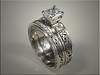 14K White Gold Wedding Set with Relief Engraving.  By Tim Frank