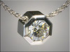 14K White Gold Octagon Shape Bezel for Moissanite.  By Ron Litolff