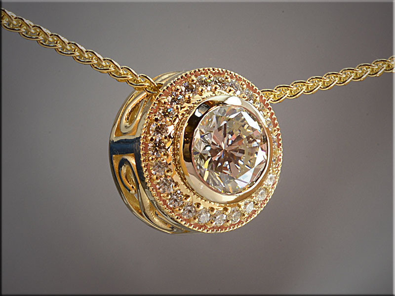 p519<br /> 14K Yellow Gold Pendant Mounting with Bezel Set Center Diamond and bead and bright cut ideal cut diamonds in Halo style.  Made by Ron Litolff.