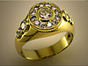18K yellow gold custom gents ring remount of customers diamonds by Ron Litolff