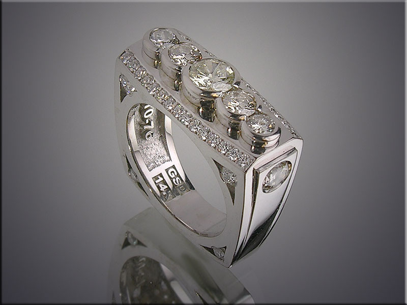 14K lady's ring remounted with customer's diamonds