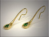 18K yellow gold freeform earrings set with pear shaped tsavorites surrounded by diamonds set in the bead and brightcut style.  By Ron Litolff.