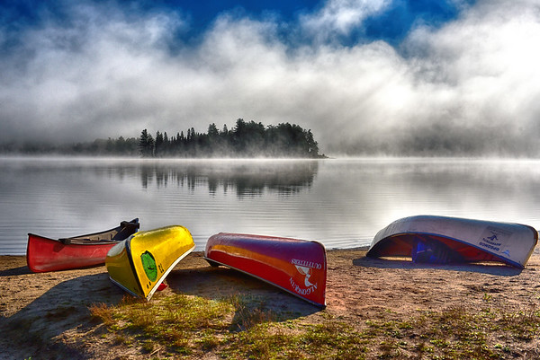 Misty morning on Lake of Two Rivers in Algonquin Park, Ontario - October 2020