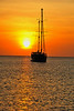 Boat and orange Sunset on Indian Ocean