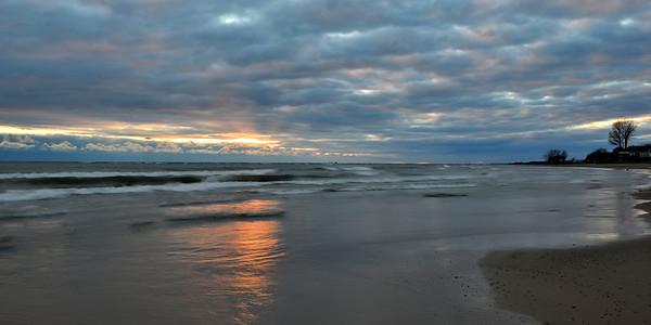 Lake Erie Sunset in November - panorama