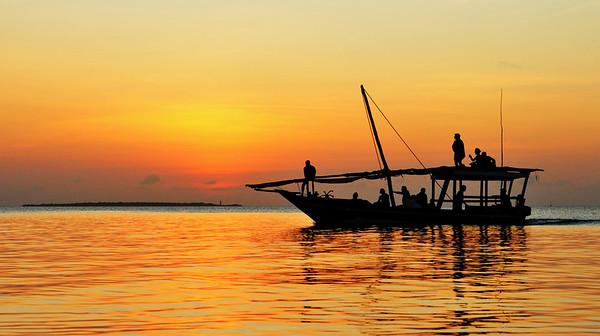 Dau boat ride into the sunset in Zanzibar