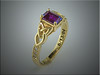 14K yellow gold emerald cut alexandrite engagement ring using customers diamonds.  By Ron Litolff