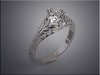 14K diamond engagement ring with raised scroll pattern, hand engraved