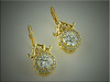 Stunning detail on these custom 14K yellow gold diamond and pearl earrings.  Designed and made by Tim Frank