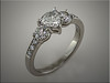 Platinum custom remount with trillion shaped diamond and rounds.  Designed and made by Tim Frank.