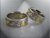 14K white gold wedding bands with 22K leaves