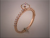 14K rose gold scalloped style diamond engagement ring.  Smaller diamonds are all ideal cut.  Designed and made by Ron Litolff.