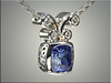 14K White Gold Pendant Mounting for Customers Cushion Shaped Sapphire, with open patterned sides.  Designed and made by Ron Litolff