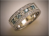 14K white gold dual color diamond ring in bead and bright cut designed and made by Tim Frank