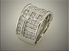 14K white gold geometric design with many ideal cut diamonds, set pave style, by Ron Litolff