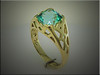 18K yellow gold custom mounting for Clay Zava Sea Foam Tourmaline cushion shape.  Designed and made by Ron Litolff