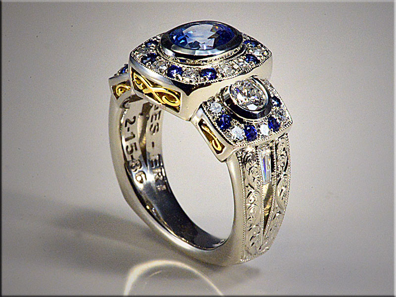 14K White Gold Halo Style Mounting for Customer's Sapphire and Diamonds.  Designed and made by Ron Litolff