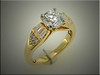 14K yellow gold remount of customers diamonds with round and baguette diamonds, by Ron Litolff