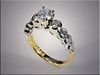 14K Two-Tone Engagement Ring with Side Diamonds Set in Full Bezels and Scalloped Bezels.  By Ron Litolff