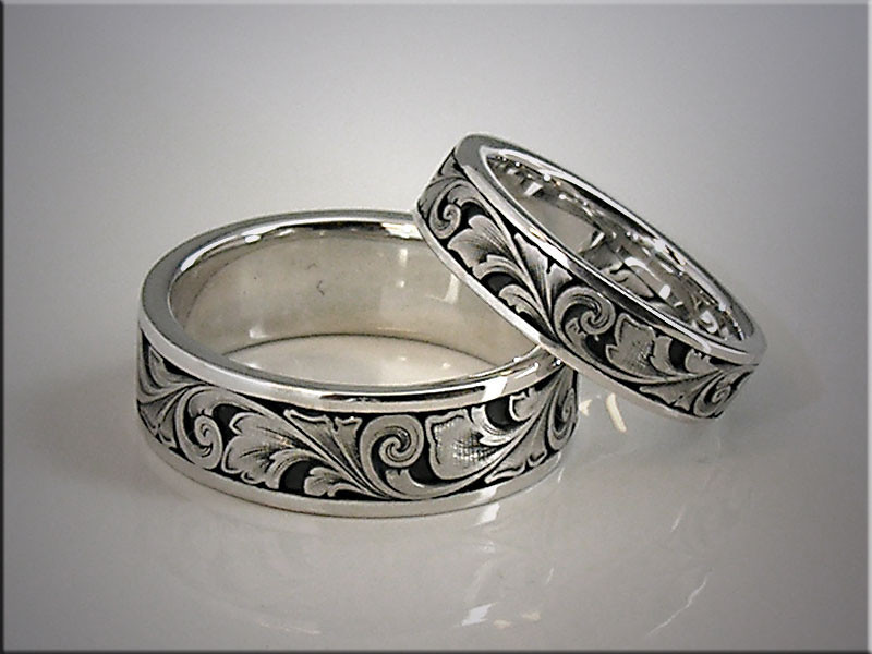 14K white gold relief engraved wedding bands with scroll pattern