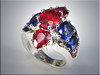 14K White Gold Mounting for Customers Rubies and Sapphires.  Designed and made by Ron Litolff