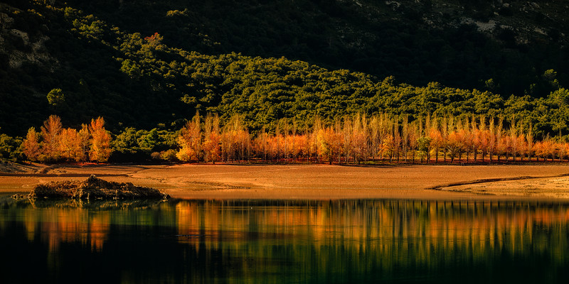 Fall in Gorg Blau reservoir, Mallorca