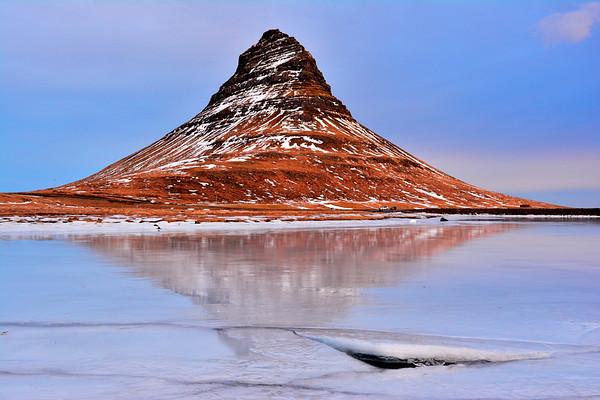 Mt Jirkjafell reflecting on ice
