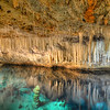 Stalactites reflecting in clear water