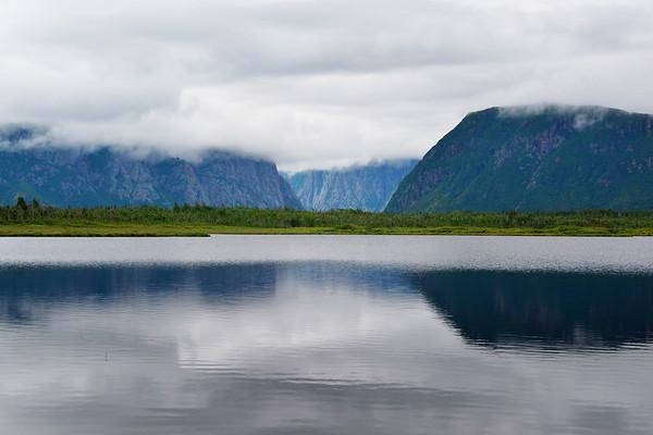 Foggy view of Western Brook Pond