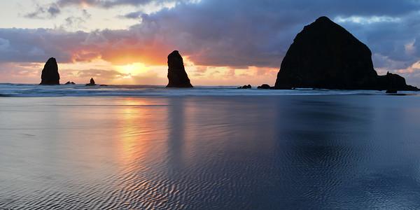 Haystack Rock Sunset in Oregon