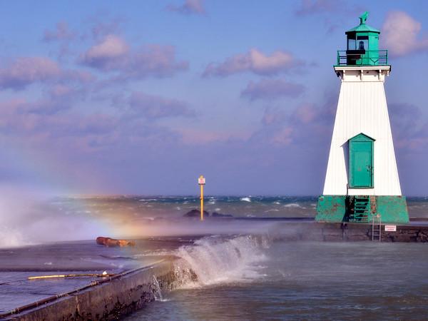 Port Lighthouse with rainbow