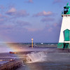 Port Lighthouse with rainbow