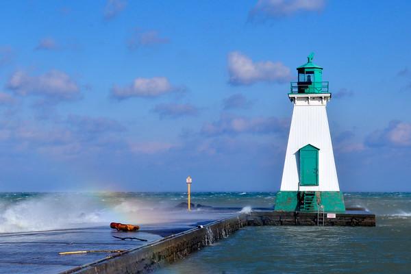 Lighthouse with rainbow