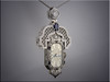 18K white gold antique style watch pendant with diamonds and sapphire