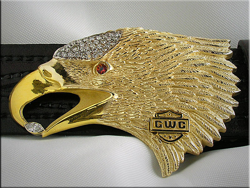 10K gold eagle belt buckle set with diamonds and ruby