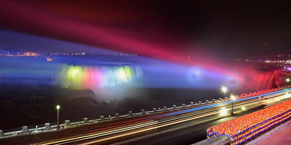 Rainbow of lights on CDN Falls