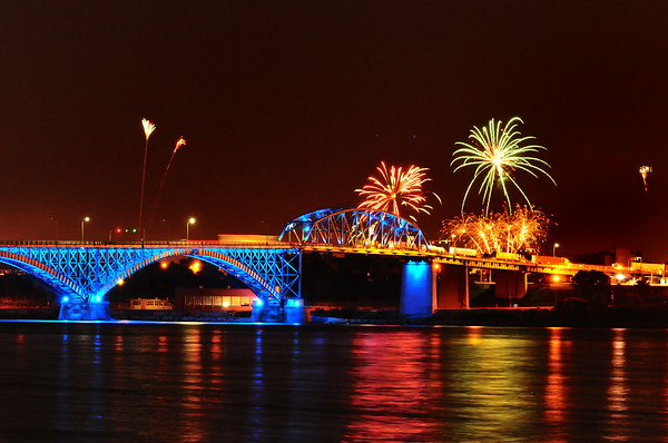 Peace Bridge with fireworks