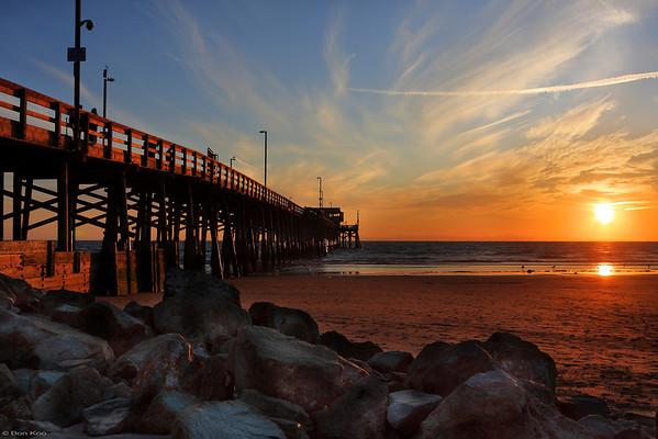 Sunset at Newport beach pier, California