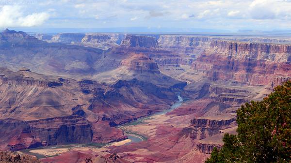 Colorado river through Grand Canyon. Panorama of 3 vertical shots