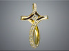 14K yellow gold custom cross set with clients diamonds.  Continuous ribbon style, designed and made by Ron Litolff.