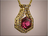 14K yellow gold hexagon shaped pendant with tourmaline surrounded by bead and bright cut diamonds by Ron Litolff